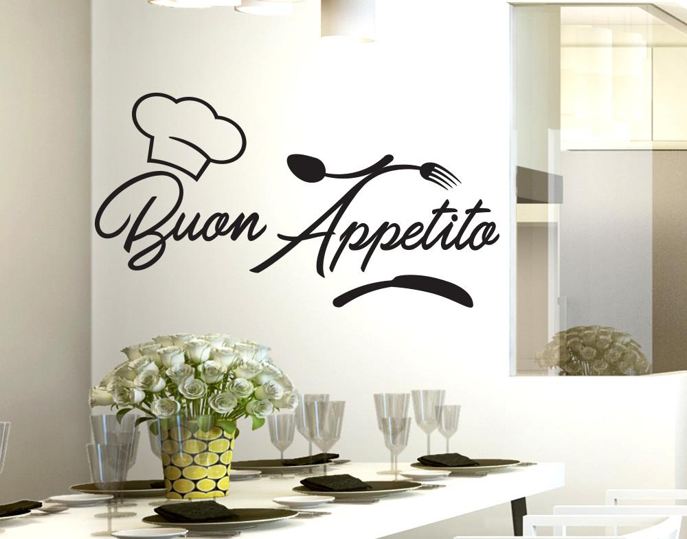 Dettagli su Stickers adesivo murale adesivi murali per cucina buon appetito  da parete wall