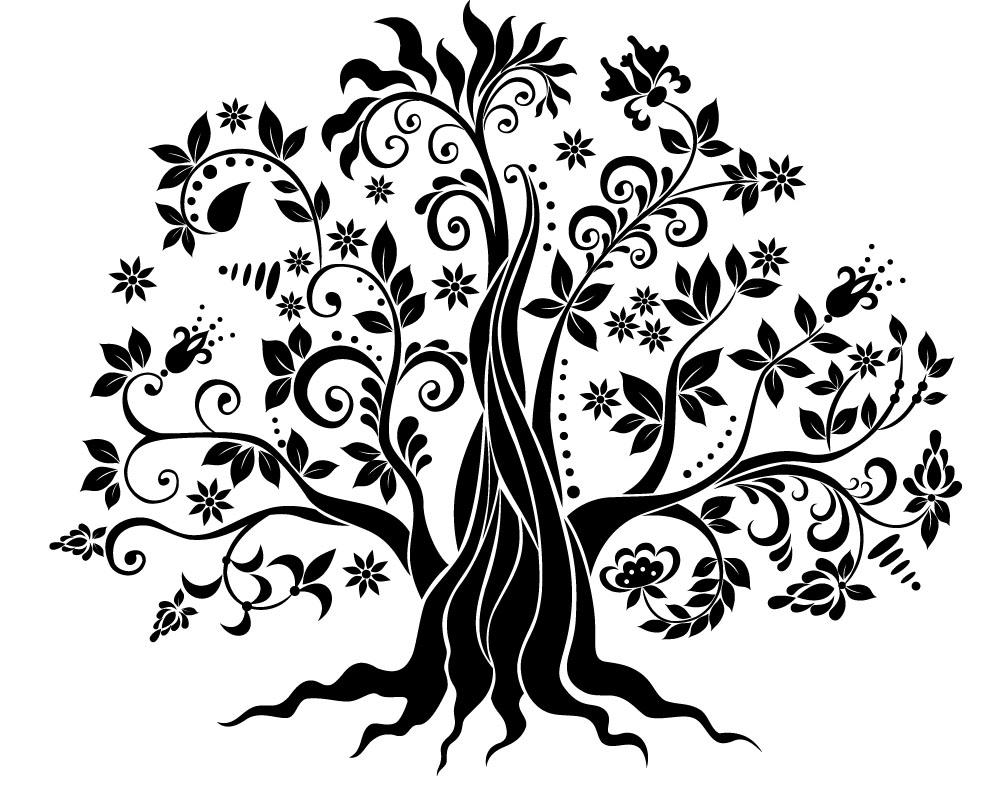 Sticker design vi presenta albero stilizzato 4 for Foto di alberi da colorare