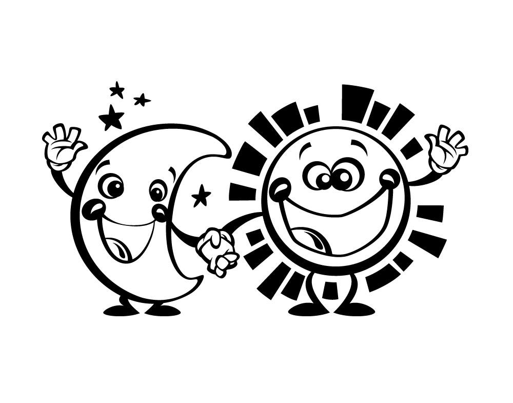 Sticker design vi presenta stickers sole e luna for Sole disegno da colorare