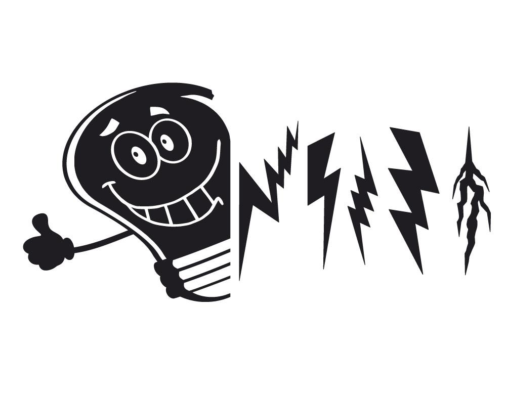 Sticker Design vi presenta lampadina e fulmini uno dei nostri prodotti