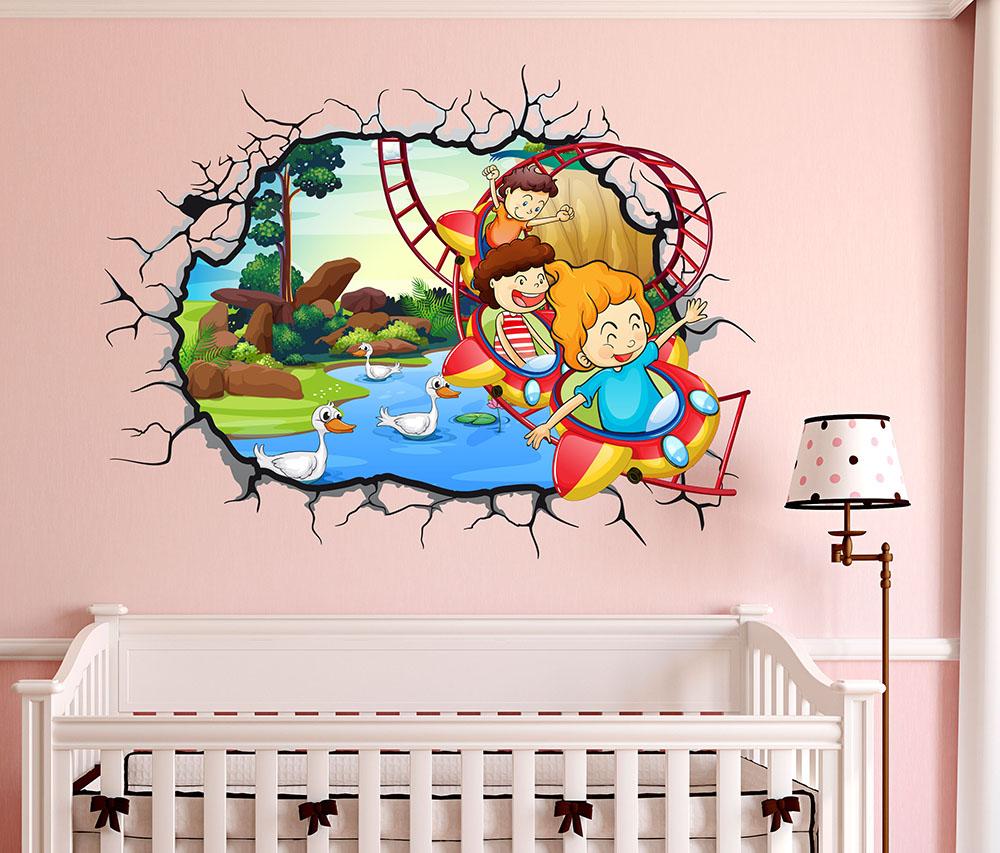 Stickerdesign  Adesivi Murali per bambini Buco nel Muro 3D Giostra Lunapark