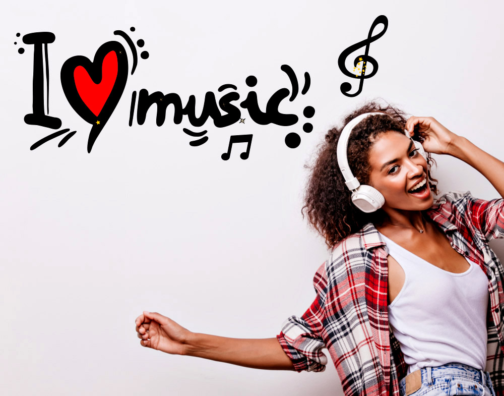 Wall stickers I love music adesivo murale amore musica