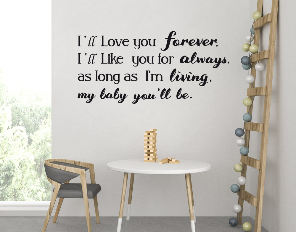 Wall stickers Frase Dedica Figlio Love you Forever Amore per sempre
