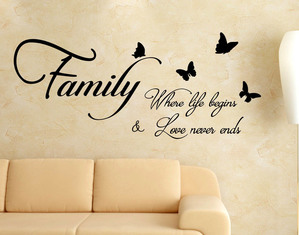 Adesivo Murali Frasi Family where life begins