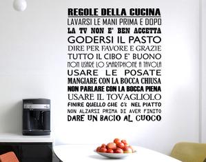 Sticker Design vi presenta Adesivi Murali Frasi Le regole della Cucina