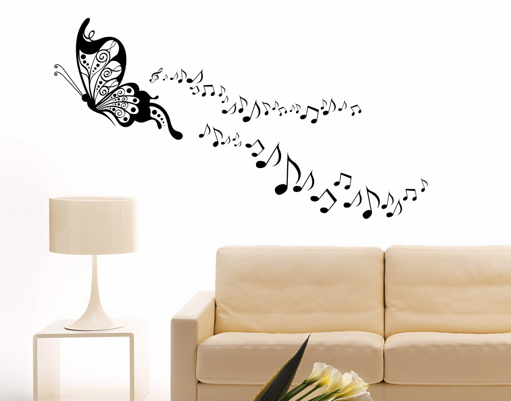 Wall stickers con Farfalla e Note Musicali in Volo