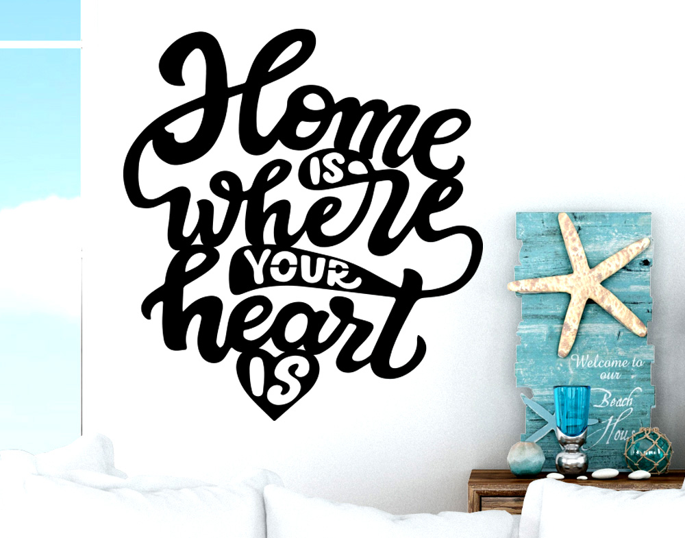 Wall stickers Frase Home is where you heart is