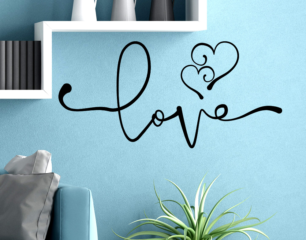 Wall stickers frase love con cuori stilizzati