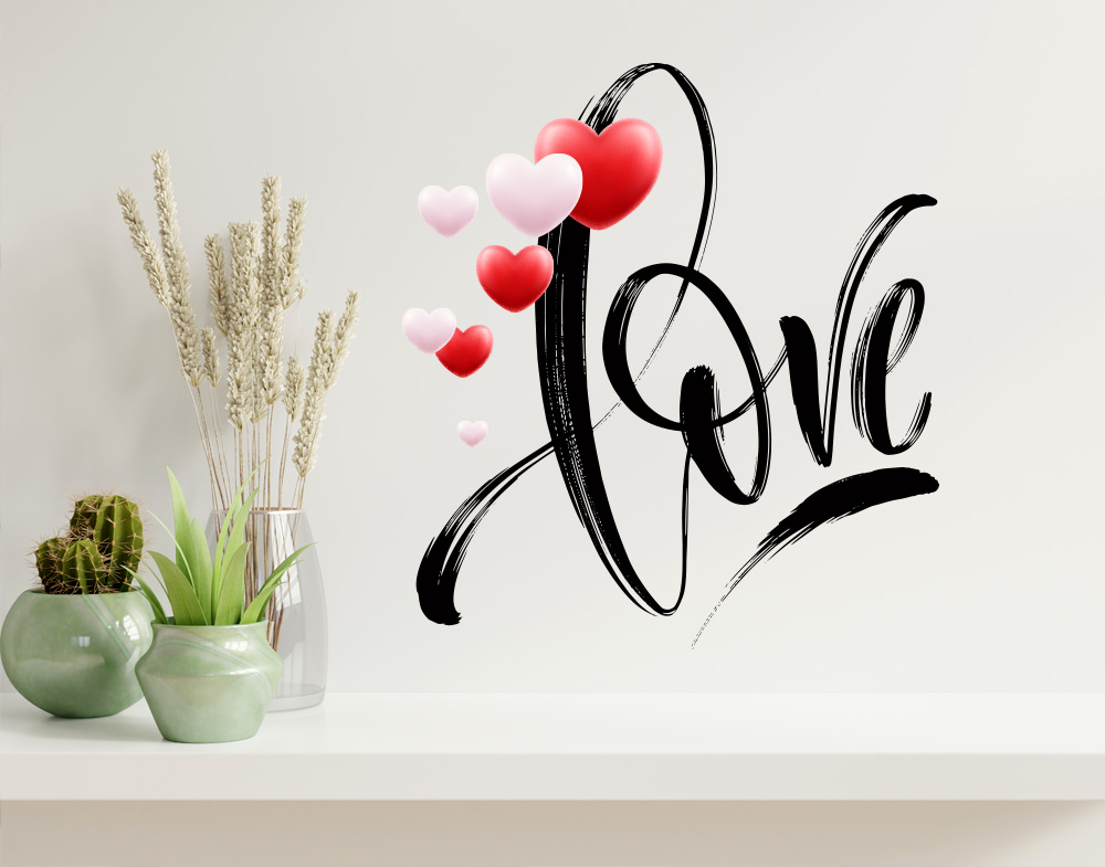 Wall stickers love con cuoricini colorati adesivo da muro