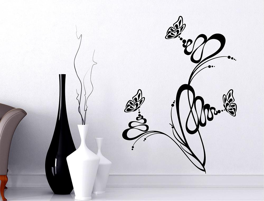 Sticker Design Vi Presenta Adesivi Murali Farfalle Su Un Fiore