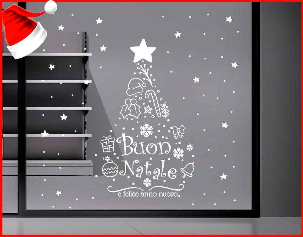Frasi Di Natale A Forma Di Albero.Sticker Design Vi Presenta Vetrofania Natalizia Buon Natale Albero Di Natale