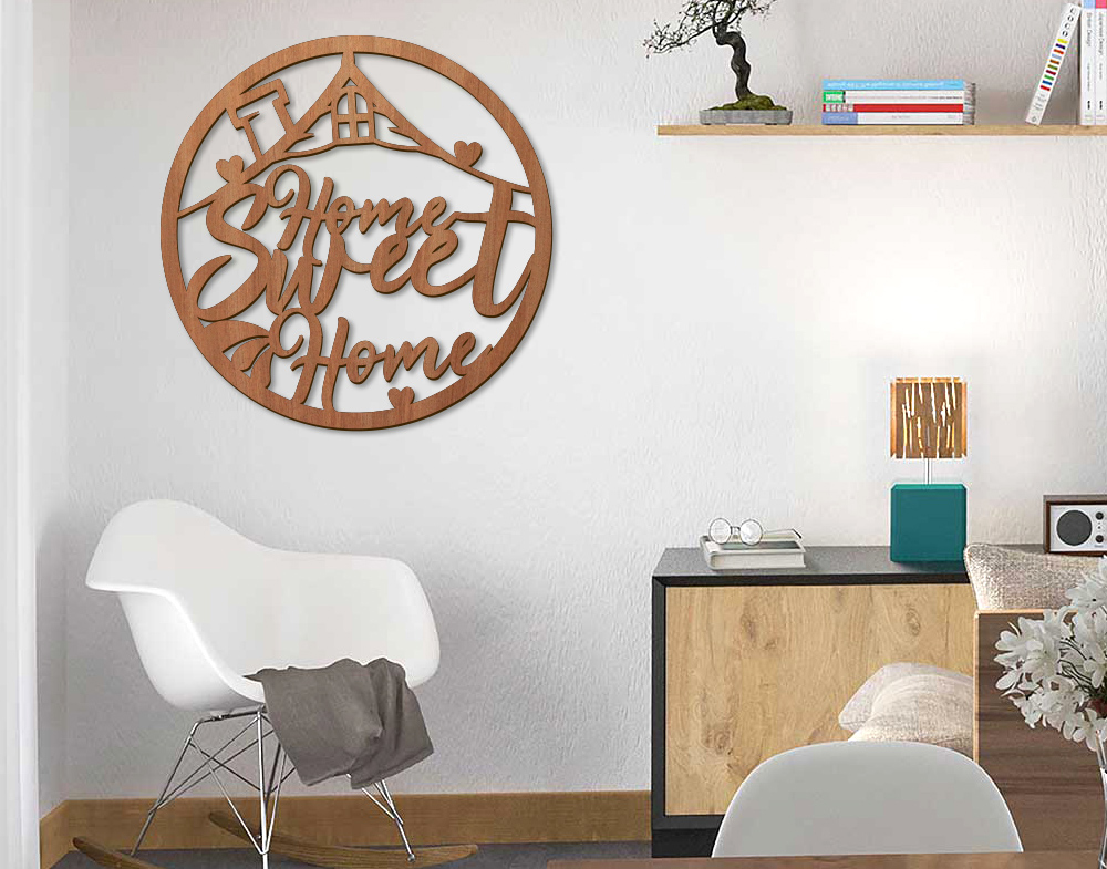 Decori in legno Frase Home sweet home