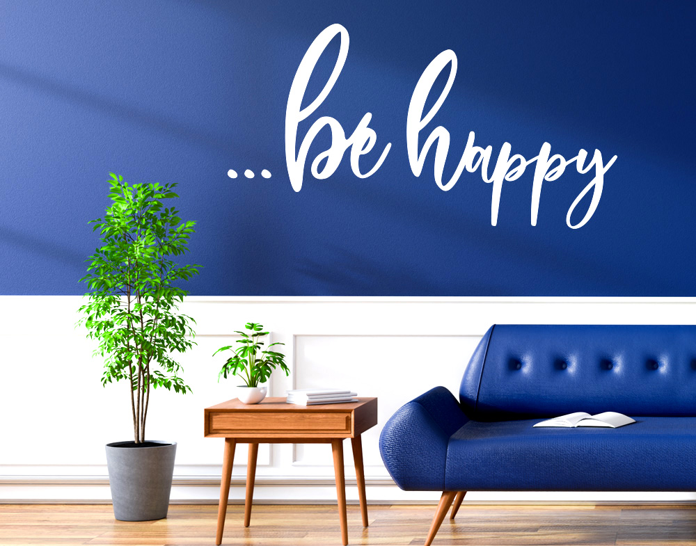 Wall stickers frase be happy adesivo murale sii felice